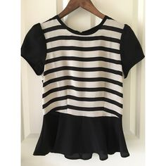 Striped peplum blouse This item is NWOT! Black and white striped peplum style blouse. Zipper closure on the back. Lightweight and perfect for spring and summer! Tops Blouses