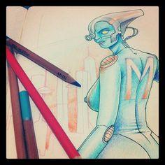 Illustration Proccess, first part, Martian woman.