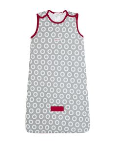 BabyKids Sleeveless Cotton Padded Sleeping Bag with Circle Print in Grey & Red #soft #cotton #newborn #baby #comfort #grey #red #genderneutral #boy #girl #babykids #sleepingbag #TOGrated