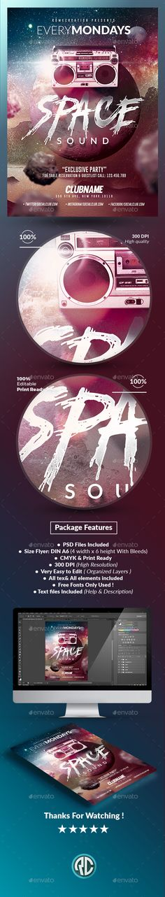 Space Sound Party Flyer Template  #PSD • Click here to download ! http://graphicriver.net/item/space-sound-party-flyer-template/16154699?ref=pxcr