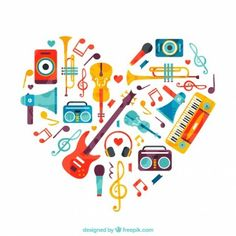Corazón hecho de instrumentos musicales.
