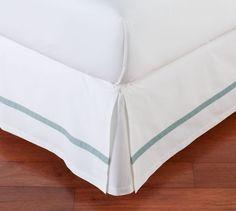Morgan Banded 400-Thread-Count Bed-Skirt, Full, Dark Porcelain Blue