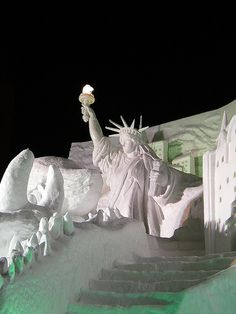 The 59th Sapporo Snow Festival #2    ' We Want to Protect the Earth and the Future of Our Children. Lady Liberty Snow and Ice Sculpture.