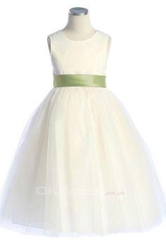 A-line Tulle Button Flower Girl Dresses - by OKDress UK