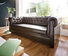 Sofa Chesterfield 200x90 cm Braun Abgesteppt 3-Sitzer