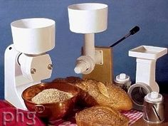 grain mill that has a motor and hand crank base with interchangeable grinder, flaker, food processor, and meat grinder heads. Can grind seeds, beans, grains, and herbs and more - and has an adjustment knob for fine, medium, or coarse. Also attachments available for kitchen aid and bosch mixers as the power source.