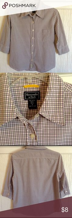 Abercrombie & Fitch Women's Top Size M This is a buttoned down top from Abercrombie & Fitch. It is purple, white and light green plaid pattern. (Photo looks brown, but is purple) 3/4 length sleeves, 100% cotton. Nice used condition. Size M Abercrombie & Fitch Tops Button Down Shirts