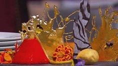 Salted Praline Parfait with crystallised violet and rhubarb velvet
