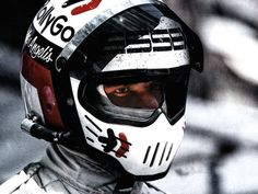 """slicks-and-wings:  """" Elio de Angelis, 1984  Also known as Awesome Helmet Man  """""""