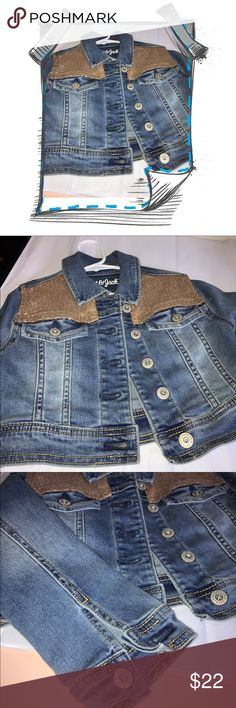 SEQUIN JEAN JACKET Size 5T. Denim jacket w buttons. Buttons at wrists and on back as shown. Front pockets w buttons.  Tagged XS 4/5. Price firm. Bundle for disc. cat & jack Jackets & Coats Jean Jackets