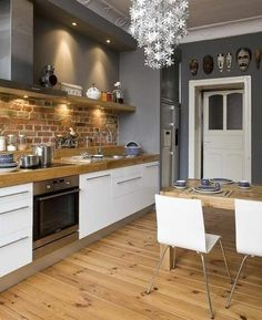 60 Eclectic Kitchen Ideas That Will Recharge Your Home - White Kitchen Remodel Kitchen Shelf Design, Kitchen Interior, Brick Kitchen, Eclectic Kitchen, Kitchen Remodel, New Kitchen, House Interior, Home Kitchens, Kitchen Design