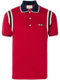 Gucci Bee Embroidered Polo Shirt In Red Gucci Polo Shirt, Gucci Jeans, Polo Rugby Shirt, Gucci Shirts, Polo T Shirts, Cool Shirts, Casual Shirts, Gucci Gucci, Mens Designer Polo Shirts