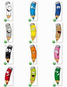 Images illustrées des crayons de couleur Des images pour illustrer votre travail et vos exercices sur les couleurs à l'aide de crayons colorés.