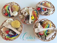 Carla's Treasure Basket / sensory rich objects / educational wooden toys / Montessori / baby / toddler / children Baby Sensory Play, Sensory Bins, Baby Play, Multi Sensory, Montessori Baby, Montessori Bedroom, Heuristic Play, Corporate Gift Baskets, Home Daycare