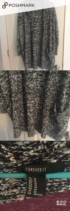 FOREVER 21 Women's Open Front Cardigan Marled Beautiful Forever 21 open front Cardigan. Perfectly pairs with leggings! Marled black and white. Super soft and cozy! Forever 21 Sweaters Cardigans