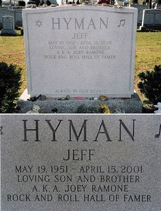 Joey Ramone - Jeff Hyman - May 19, 1951 - April, 15, 2001. Loving son and brother a.k.a. Joey Ramone - Rock and Roll Hall of Famer. R.I.P. <3