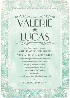 Nouveau Border - Signature White Wedding Invitations - Jenny Romanski - Willow - Gray : Front