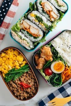 These 3 EASY and BUDGET-friendly MEAL PREP ideas for BENTO prove that eating HEALTHY can be DELICIOUS and fun! A little prep work on Sunday will set you up to eat healthier, save money, and reduce your stress through the week. #3dollarbento #bento #mealprep   Easy Japanese Recipes at JustOneCookbook.com Easy Japanese Recipes, Asian Recipes, Ethnic Recipes, Bento Recipes, Bento Ideas, Cookbook Recipes, Recipies, Grated Carrot Salad, Sandwich Day