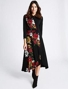 Floral Print 3/4 Sleeve Bodycon Midi Dress