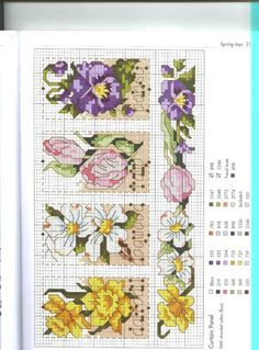 Cross stitch - flowers: daffodil, dogwood, tulip, pansy - small motifs (free pattern - chart)