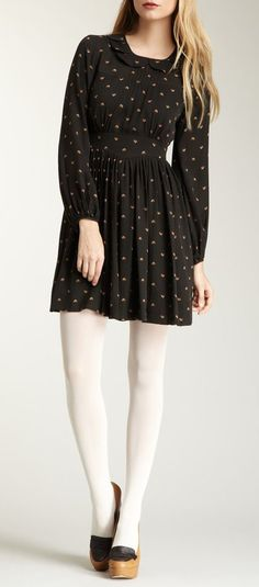 Orla Kiely Tiny Lovebirds Silk George Long Sleeve Dress. The white tights make the outfit!