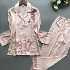 Summer Rose Embroidery Elegant Night Wear Nightsuits Turn-Down Collar Women Silk Long Sleeve Pajamas Sets Night Suit, Night Wear, Rose Embroidery, Long Sleeve Pyjamas, Comfortable Outfits, Pajama Set, Underwear, Raincoat