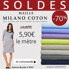 ** 7 Jours - 1 Prix - 1 Produit *** De jolies couleurs pour préparer le Printemps :-) Maille milano coton à 5,90€ le mètre au lieu de 19,80€ A vous de choisir votre couleur ! Cliquez ici : http://www.tissus-de-reve.fr/