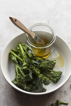 Vegetable broccolini with olive oil and brush