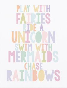 Fairies Unicorn Mermaids Poster for Girls Bedroom - unicorn bedroom Unicorn Bedroom Decor, Girl Bedroom Walls, Big Girl Bedrooms, Little Girl Rooms, Girls Fairy Bedroom, Little Girls Playroom, Girls Princess Bedroom, Sister Bedroom, Fairy Room
