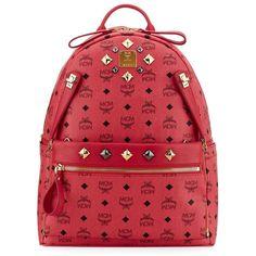 MCM Medium Dual Stark Backpack ($940) ❤ liked on Polyvore featuring bags, backpacks, mcm, print backpacks, mcm bags, padded backpack, pattern bag and red bag
