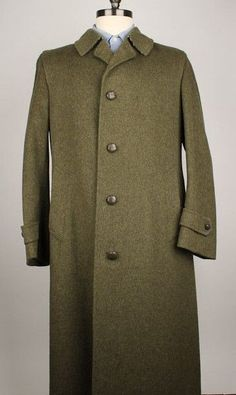 Loden Dark Green Wool Blend Leather Buttons Thick 40 R mens Jacket Coat Overcoat #Loden #BasicCoat