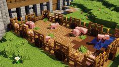 Muddy Pig Farm : Minecraft - Minecraft World Minecraft Farmen, Villa Minecraft, Construction Minecraft, Minecraft Cottage, Minecraft Building Guide, Minecraft Medieval, Amazing Minecraft, Minecraft House Designs, Minecraft Survival