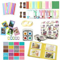 CLOVER 9 in 1 Accessory Bundle Set For Fujifilm Instax Mini 8 Camera  Owl Case Bag  Album  closeup lens  Color Filter  sticker borders  wall hang frame  film frame  corner sticker Yellow -- See this great product.