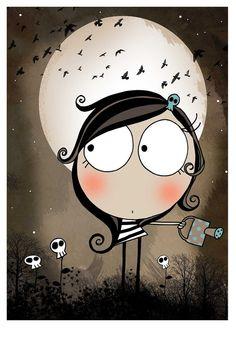 Discover thousands of images about Luna Whimsical Art, Cute Illustration, Rock Art, Doodle Art, Cute Cartoon, Cute Drawings, Cute Art, Painted Rocks, Watercolor Art