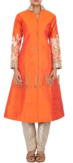 Buy Online from the link below. We ship worldwide (Free Shipping over US$100) http://www.kalkifashion.com/catalog/product/view/id/14810/s/orange-suit-in-raw-silk-embellished-in-mirror-and-thread-work-only-on-kalki/