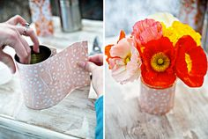 These pretty paper-covered cans are so easy to make and can be as pretty as ...cafecartolina.blogspot.com