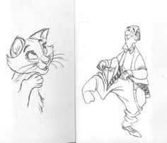 """Some more of Milt Kahl's Amazing work for the Disney film """"The Aristocats"""""""