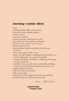 These morning routine ideas are simply that – ideas. My intentions are to spark your interest and help pinpoint what might need to add to your morning routine. Don't feel obligated or guilty to do anything on this list unless you think it aligns with your Vie Motivation, Morning Motivation, Study Motivation, Monday Motivation, Positive Energie, Self Care Activities, Self Improvement Tips, Good Habits, Self Care Routine