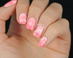 Stamping nail art using Pueen72, tropical,  Hawaii,  flowers,  hibiscus