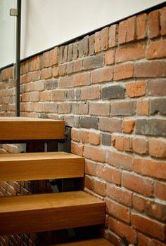 natural brick wall at basement stairs - Google Search