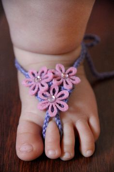 Baby Barefoot Sandals Crochet Felt Flowers or by LillyLaneCouture, $12.00