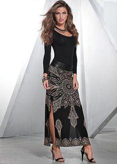 %PC% Long sleeve seamless top, print maxi skirt, heel from VENUS