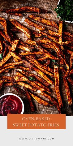Crispy Oven-baked sweet potato fries - A healthy alternative to potato fries. Quick and easy to make! ------------ #sweetpotatorecipesbaked #sweetpotatofries #sweetpotato #whole30recipes #plantbasedrecipes #bakedvegetables