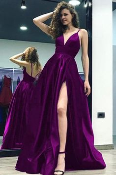 Grape Satin A-line V-neck Split Backless Long Prom Dress With Straps, M208 #Promdress #Slit #Formaldress #Simidress