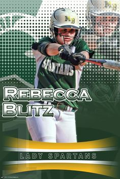 We had the opportunity to create a custom softball poster for Rebecca Blitz of Mountain Brook High School.  She is the type of player who is a great role model and you love to watch play, because of her attitude, hard work, dedication, and all out effort on the field.  That type of play also gained the attention of the Indiana Hoosiers, where she has verbally committed to continue her softball career.  We featured her in our Connect The Dots Too  design in her Spartans uniform.