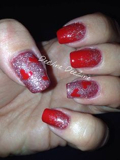 valentine's day nail art, valentine nails, heart nail art, heart nail art, sensationail gel