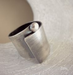 Wide band swirl silver ring by ZizouArT