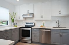 Dual-Tone Gray and White Kitchen Cabinets