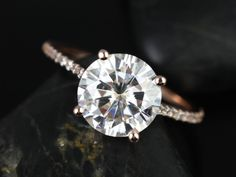 Rosados Box Eloise 9mm Size Rose Gold Round FB Moissanite and Diamonds Cathedral Engagement Ring