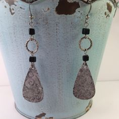 Oxidized, embossed, distressed metal dangle earrings with black square bead accents by ShopSimplyDistressed on Etsy